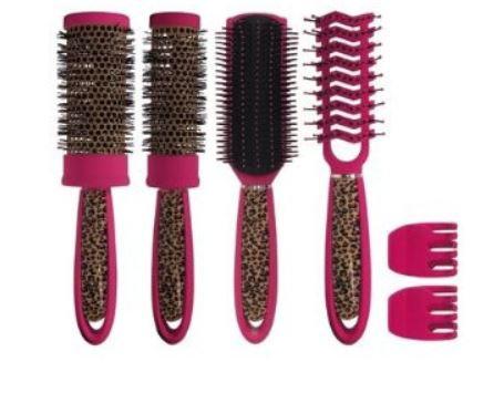 6 pc. Pink Leopard Brush Set