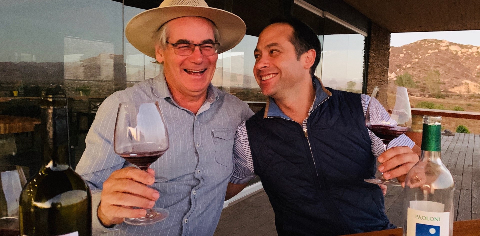 Paolo Paoloni of Paoloni with Patrick Neri from Beso Imports at the Paloni estate in Valle de Guadalupe where friendship and business are one in the same.