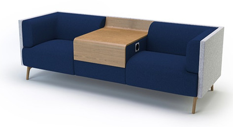 Tryst Double Sofa with Low Back and Table