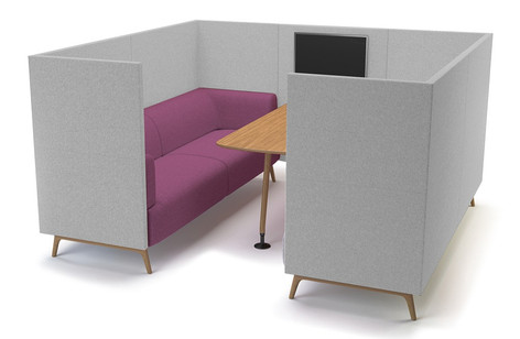 Tryst Six Person Booth with High Back and Table