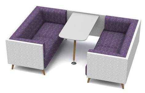 Tryst Four Person Booth with Low Back and Table