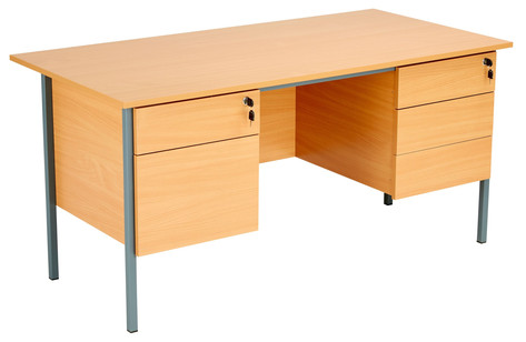 Teacher Desk with Fixed 2 and 3 Drawer Pedestals