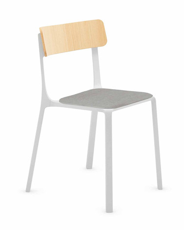 Sigma Chair with Wooden Backrest and Upholstered Seat Pad