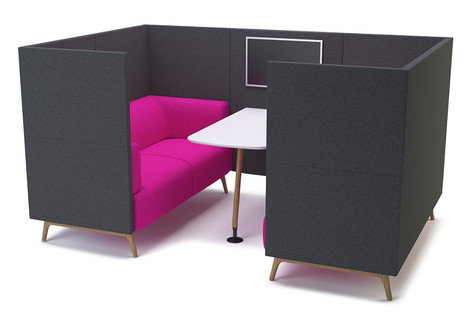 Tryst Four Person Booth with High Back and Table