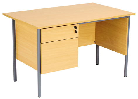 Teacher Desk with Fixed 2 Drawer Pedestal