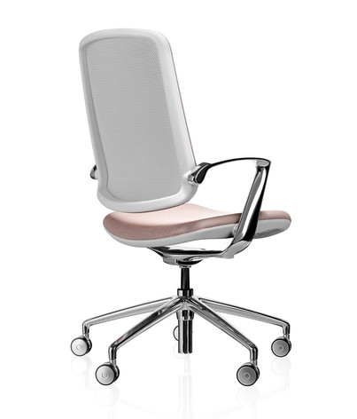 Trinetic Chair - White Frame with Chrome 5 Star Castors