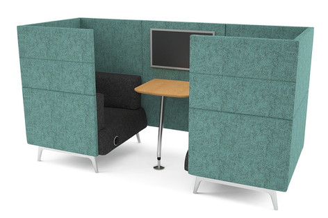 Tryst Two Person Booth with High Back and Table