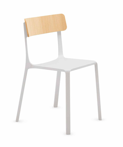 Sigma Chair with Wooden Backrest and Plastic Seat