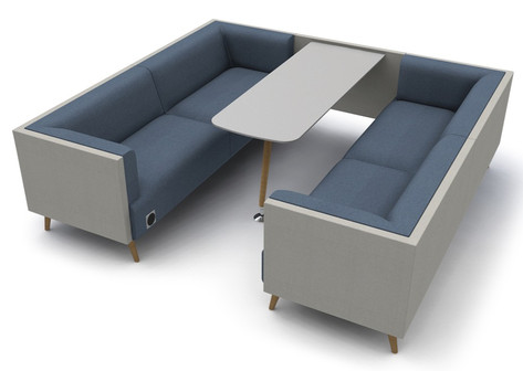 Tryst Six Person Booth with Low Back and Table