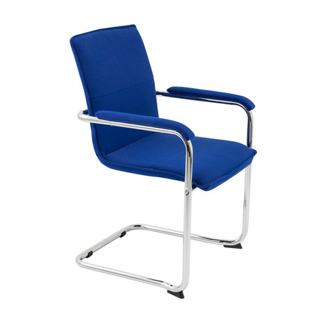 Pavia Cantilever Chair with Blue Upholstery