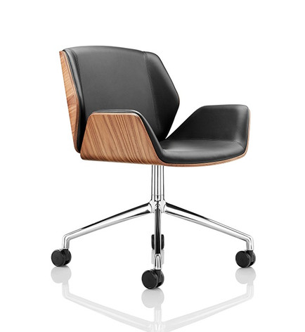 Kruze Chair - Walnut Shell with Chrome 4 Star Base