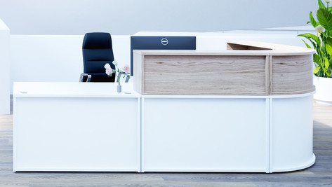 Modular Reception Counter with Contrasting Top Boxes
