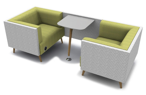 Tryst Two Person Booth with Low Back and Table