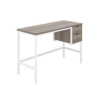 Haynes Desk with Grey Oak Top and White Frame
