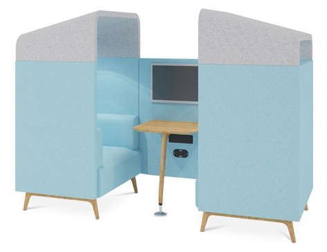 Tryst 2 Person Booth with Roof in Contrasting Finishes