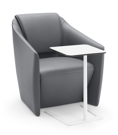 DNA Lounge Chair in Leather with Laptop Table