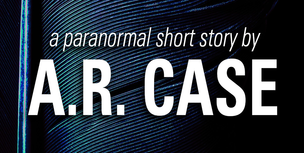 Close up of a black feather with text: a paranormal short by A.R. Case