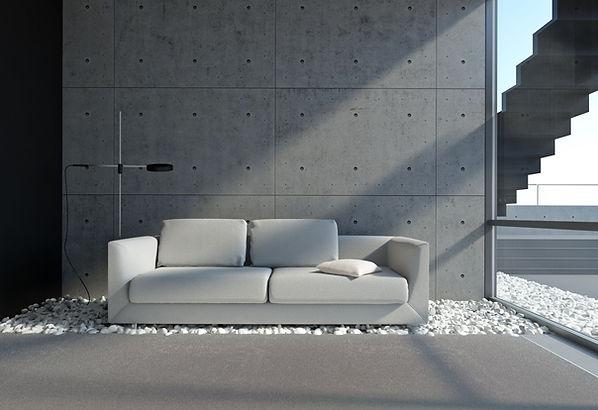 ספה בחלל מעוצב בסגנון תעשייתי