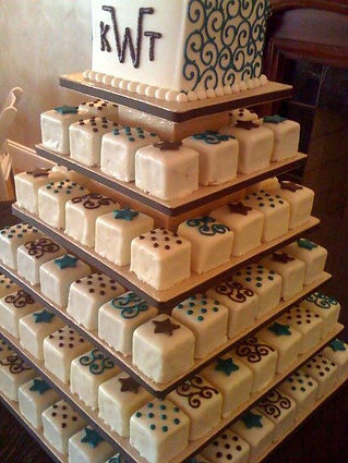 Petit Four wedding cake by Creative Memories The Sweet Spot Bakery Fort Worth, TX
