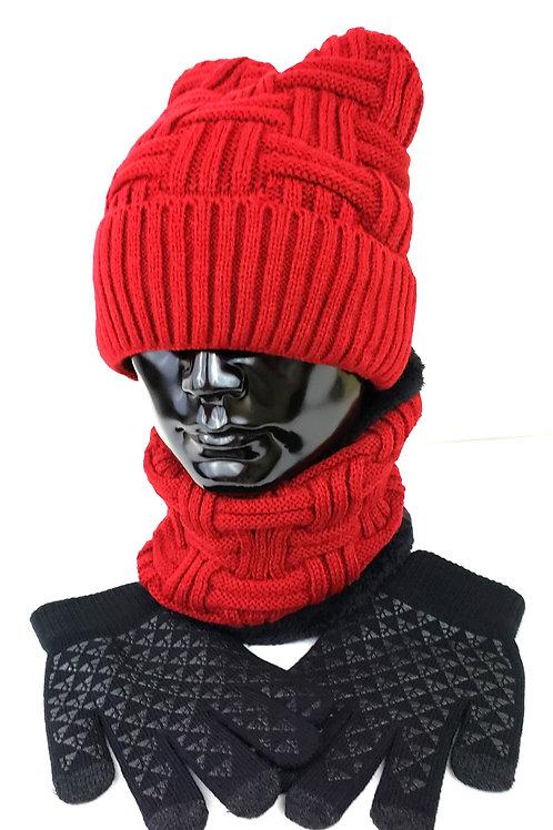 3Pcs Wool Winter Scarf, Hat & Gloves Sets (Logo Optional)