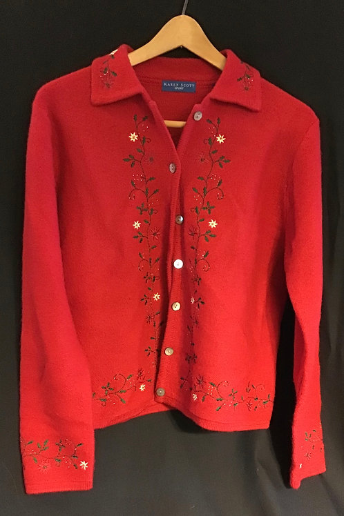 Sweater by Karen Scott, embroidered, Size: Medium (VC74)
