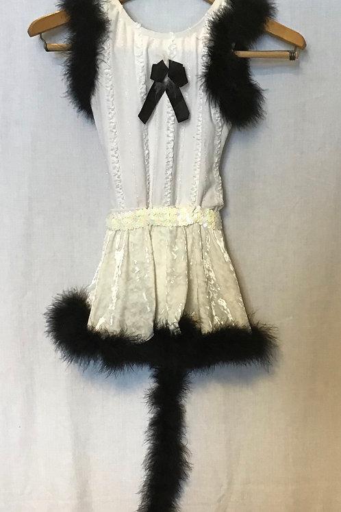 Dance Costume, Off White with Black trim, Size: Child Medium