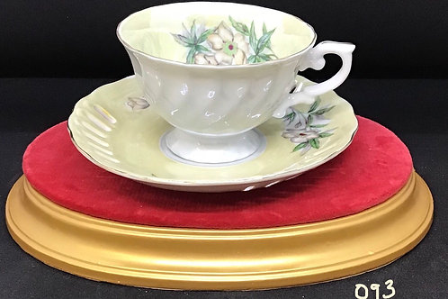 Yellow Floral Tea Cup and Saucer (093)