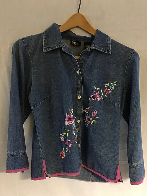 NY & Co., Embroidered Denim Top, Size: Small (VC79)