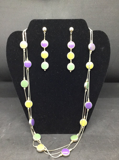 Multi-Colored Necklace & Earrings Set