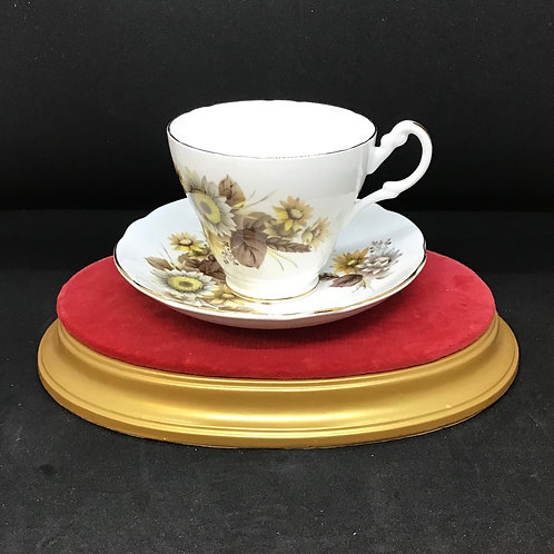 Yellow Floral Tea Cup and Saucer (C95)
