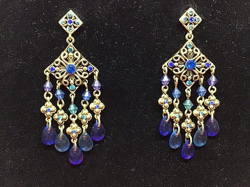 Pierced Blue Dangled Earrings (J12)