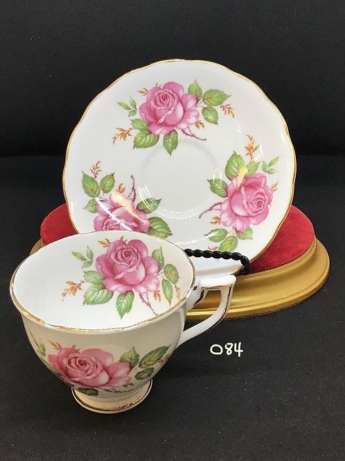 """Tea Cup and Saucer, Mayfair Bone China, """"Rose"""" (084)"""