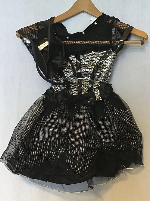 Dance Costume, Black and Silver with Hat, Size: Child Small