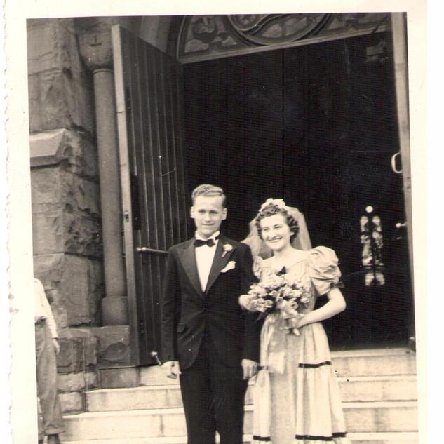 couple outside church