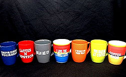 Laugh Out Loud Coffee Mugsare a huge hit on college campuses everywhere. Every studentneeds a coffee mugand what better coffee mugto give them than a colorful ceramic mugthat they get to personalize with a Laugh Out Loud saying.The 100+ Laugh Out Loud saying options are funny and inspirational with a saying to fit every type of personality. The hosting organization can also add school oriented saying options (name of school, school cheer, etc.).And the pre-cut sayings help to speed up the production of the coffee mugsso everyone gets to enjoythe event.Laugh Out Loud Coffee Mugsare a perfect combo with Cafe Aromas - The Aromas Therapy Oxygen Cafe. Cafe Aromas is set up like a Starbuck's Cafe and so of course you'llwant to add Laugh Out LoudCoffee Mugs!! It's the perfect combo event!!