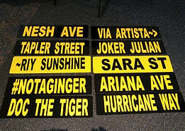 """School Spirit Street Signs – Authentic METALStreet Signs in Your School Colors    Have you ever seen your name on a corner street sign and thought """"I'd like to have that sign""""? You may have even looked around to see if anyone was watching you as you thought about how you could get that street sign down from that corner pole. Well now you can have that coveted street sign without the fear of getting in trouble!!"""