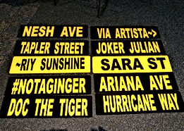 "School Spirit Street Signs – Authentic METAL Street Signs in Your School Colors    Have you ever seen your name on a corner street sign and thought ""I'd like to have that sign""?  You may have even looked around to see if anyone was watching you as you thought about how you could get that street sign down from that corner pole.  Well now you can have that coveted street sign without the fear of getting in trouble!!"