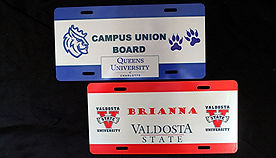 School Spirit PersonalizedLicense Plates – METALLicense Plates with Your School Logos and Your School Colors.    Students love free stuff especially anything that they can personalize. When you add that your school logo and your school colors make up the template for this metal license plate, it becomes a college keepsake that they will cherish forever.