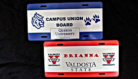 School Spirit Personalized License Plates – METAL License Plates with Your School Logos and Your School Colors.    Students love free stuff especially anything that they can personalize.  When you add that your school logo and your school colors make up the template for this metal license plate, it becomes a college keepsake that they will cherish forever.