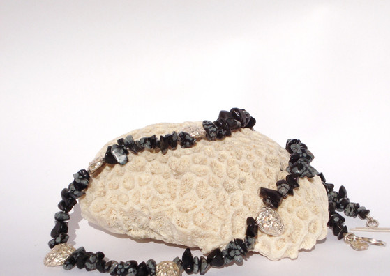 snowflake obsedian garland necklace