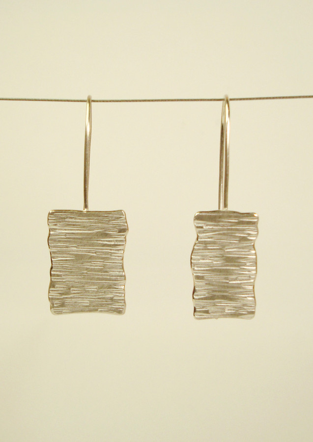 tectonic rectangular asymmetric plaque drop earrings