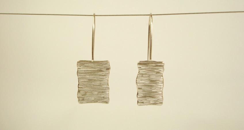 tectonic rectangular asymmetric plaque drop earrings