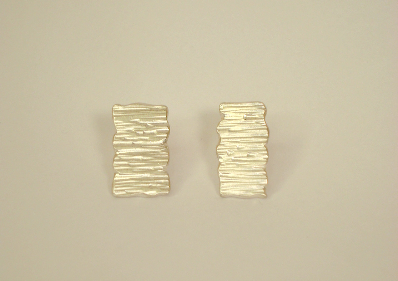 tectonic rectangular asymmetric plaque earrings