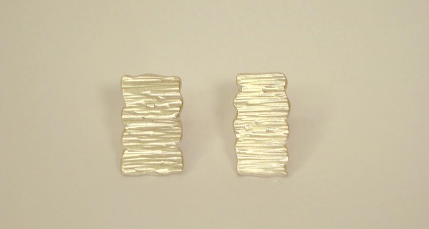 tectonic rectangular asymmetric plaque earrings