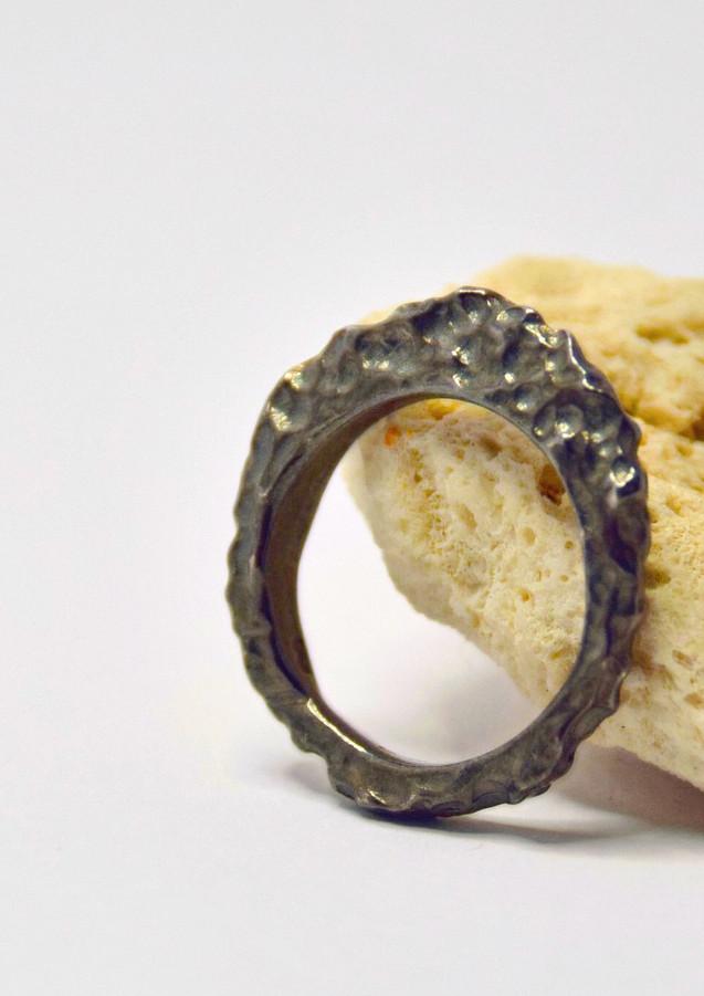 rock slice oxidised ring