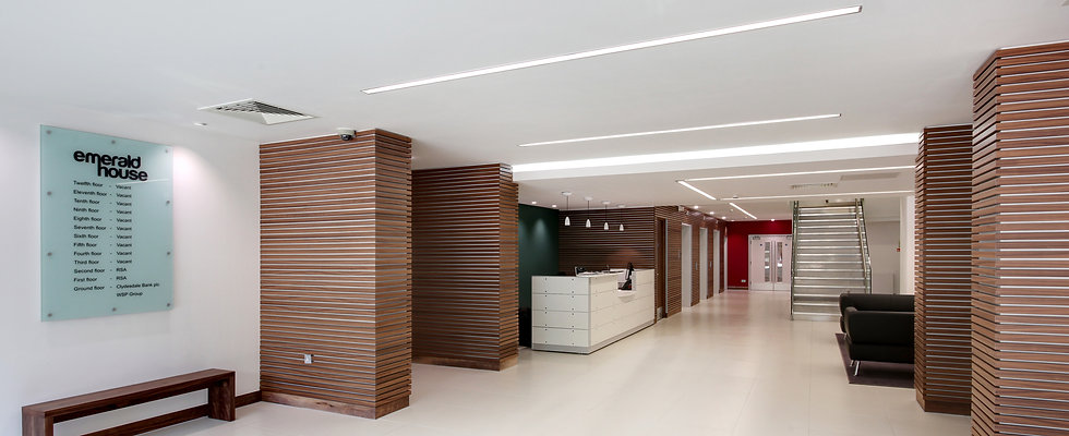 A refurbished office reception in Croydon London