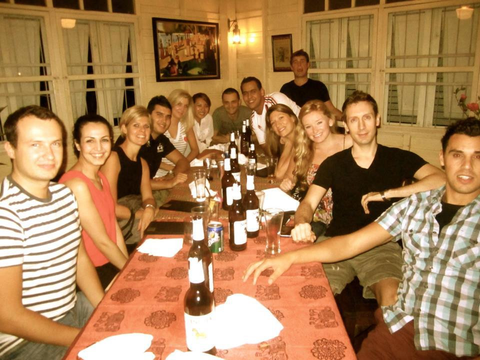 Dinner with new friends in Bangkok.