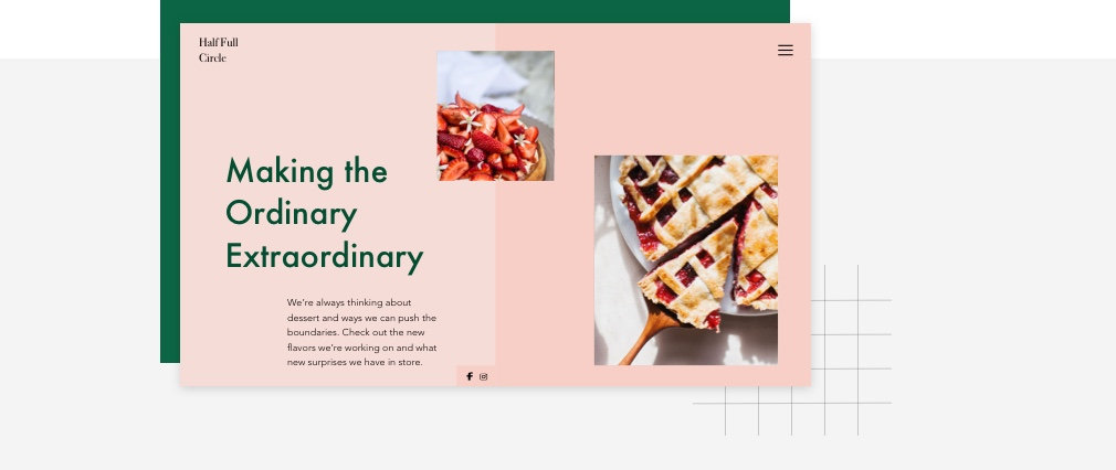 Homepage for a baking blog.