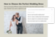 Search results and wedding blog post.