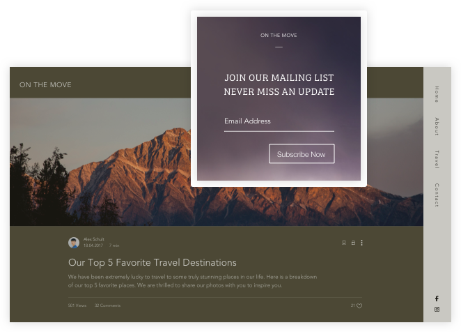 Adding a subscribe box to a travel blog.
